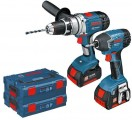 BOSCH 18V GSB18VE2-Li & GDR18V-Li TWIN PACK WITH 2 x 3AH LITHIUM BATTERIES IN L-BOXX + EXTRA L-BOXX